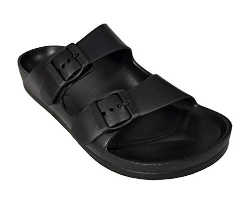 H2K (2019 Model) Women's Ultra Lightweight EVA Double Buckle Comfy Slide Sandals Flat Flip Flops (Black, 7)