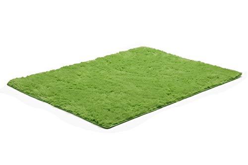 BlueSnail Super Ultra Soft Modern Shag Area Rugs, Bedroom Livingroom Sittingroom Floor Rug Carpet Blanket for Children Play Home Decorate (4' x 5.3', Rectangle, Apple Green) (Grey Boxes Rectangle Rug)