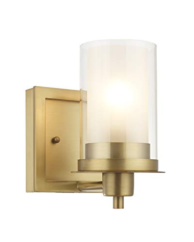 Designers Impressions Juno Brushed Brass 1 Light Wall Sconce/Bathroom Fixture with Clear and Frosted Glass: 73485