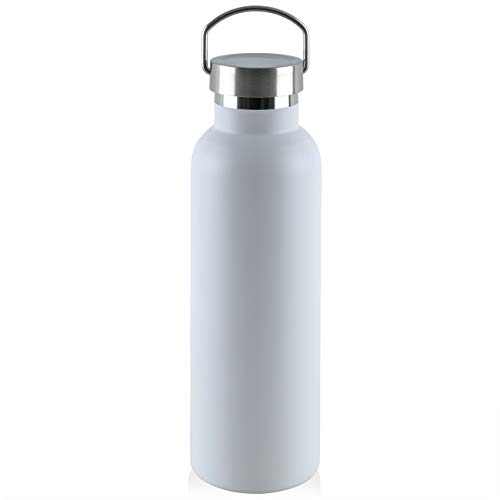 ONEB Stainless Steel Vacuum Insulated Water Bottle with Lids, Multiple Sizes & Colors,Leak Proof Sports Bottle for Hydration,25OZ Durable Powder Coated Wide Mouth BPA Free Thermoses (25OZ White)