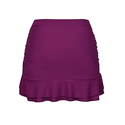 Hilor Women's Skirted Bikini Bottom High Waisted Shirred Swim Bottom Ruffle Swim Skirt: Clothing