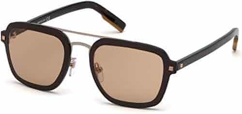b3a0f4e98b17 Sunglasses Ermenegildo Zegna EZ 0120 48L Shiny Dark Brown/Roviex Mirror