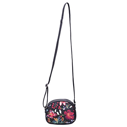 Zipper Travel Flowers Shoulder Patent Purse Mini Saddle Crossbody Faux Women's Black Leather DAVIDJONES Bag HEvqPw