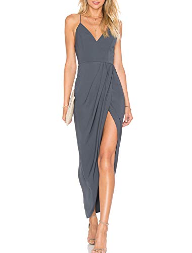 CMZ2005 Women's Sexy V Neck Backless Maxi Dress Sleeveless, Gray, Size X-Small