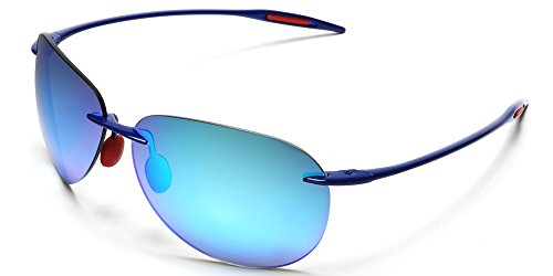 Samba Shades Light-Weigh Unbreakable TR90 Frame Aviator Sunglasses with Blue Frame, Revo Blue Mirror - Subglasses Round