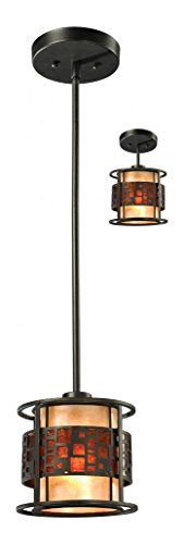 (Z8-50MP-C Java Bronze Milan 1 Light Mini Pendant with White and Amber Mica Shade)
