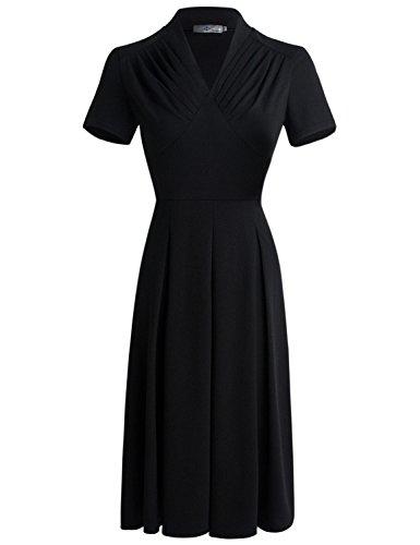 EEAMDRK Women's Classy Audrey Hepburn 1950s Vintage Waist Fold Dress (L, (1950s Womens Clothes)