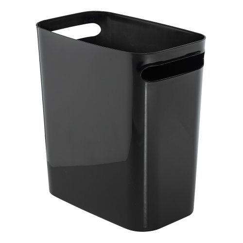 (InterDesign Una Rectangular Trash Can with Handles, Waste Basket Garbage Can for Bathroom, Bedroom, Home Office, Dorm, College, 12-Inch, Black)