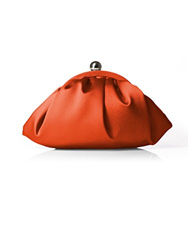 Orange satin clutch purse