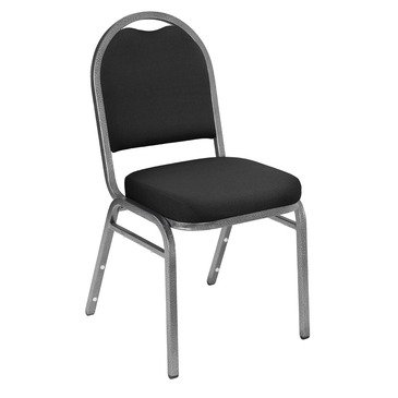 ing 9260 Dome Fabric Padded Stack Chairs w/ Pattern in Ebony Black on Silvervein Frame [Set of 2] ()