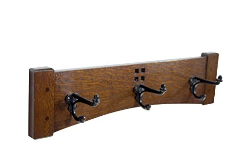 Coat Rack 18 Inch 3 Cast Iron Hook Coat Rack Arts and Crafts Style from Vollman Woodworking