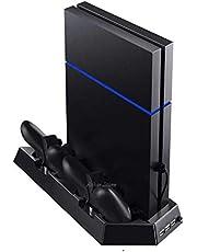 شاحن وحدة تحكم USB المزدوج مع قاعدة حامل شاحن ومروحة تبريد، و3 منافذ USB لجهاز PlayStation 4