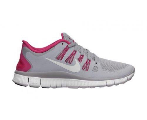 Nike Free 5.0+ Womens Loopschoenen 580591-061 Wolf Grijs / Roze Force-wit (10.5)
