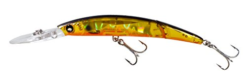 Yo-Zuri Crystal 3D Minnow Deep Diver Jointed Floating Lure, Holographic Gold Black, 5 1/2-Inch