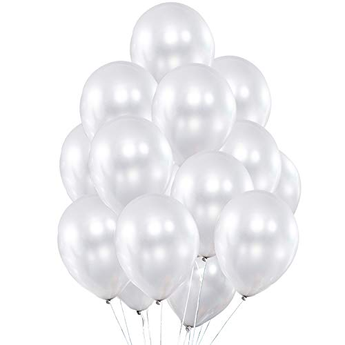 Fayoo Pearlized White Balloons, 12'' Shining Latex Party Balloons for Party Decorations, Baby Shower, Christmas Decorations, Birthdays, Bridal Shower, Valentine's Day, Graduation 100 pcs (White)