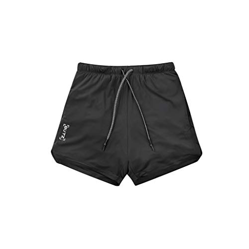 LUCAMORE Five Pants Men's Sports Breathable Casual Fitness Shorts Men's Running Mountaineering Training Shorts Light Black