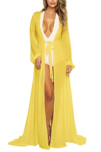- Sovoyontee Women's Yellow Sexy Mesh Long Sleeve Swimsuit Swim Bathing Suit Beach Cover Up Dress S