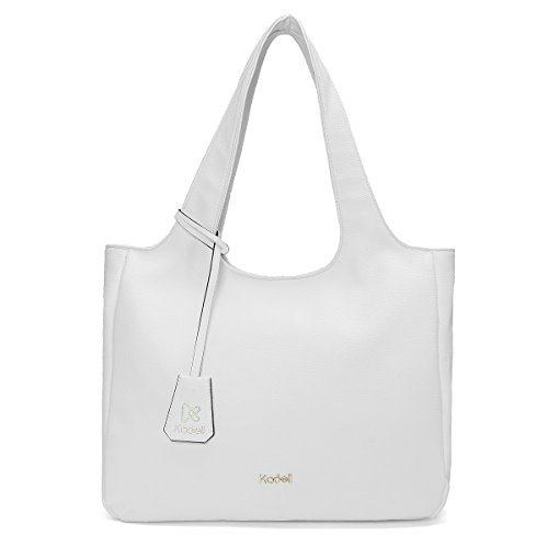 Women Handbag Shoulder Bag Messenger Tote Purse PU Leather (White) - 2