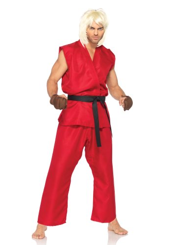 [Leg Avenue Costumes 4Pc.Ken Includes Shirt Pants Belt and Hand Pads, Red, Medium/Large] (Ryu Costume)