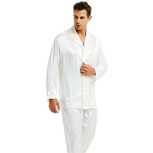Mens Silk Satin Pajamas Set Sleepwear Loungewear White M by Lonxu