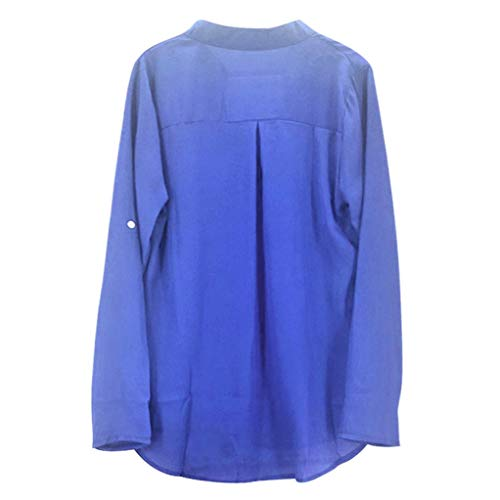 [S-5XL] レディース Tシャツ Vネック 無地 ポケット シフォン シャツ 長袖 トップス おしゃれ ゆったり カジュアル 人気 高品質 快適 薄手 ホット製品 通勤 通学