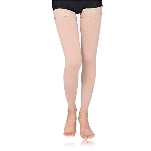 MEJORMEN Thigh High Compression Stockings Women 30-40mmHg Best Socks for Pregnancy, Sports, Flight Travel, Shin Splints, Varicose Veins (XX-Large, Skin Color (Footless))