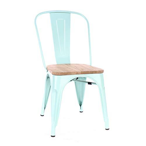 (Design Lab MN LS-9000-PEPLW Dreux Matte Mint Light Elm Wood Stackable Side Chair (Set of 4),)
