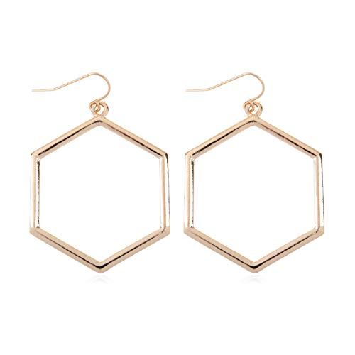 (RIAH FASHION Lightweight Geometric Cut-Out Drop Earrings - Simple Metallic Open Hoop Wire Hook Dangles Pear, Teardrop, Oval Octagon (Hexagon Drop - Gold))