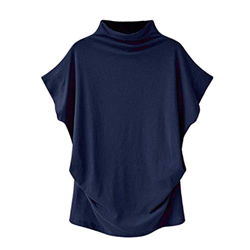 Bat-Wing Sleeveless Tops for Women Pure Color Summer Casual Blouse Turtleneck Basic Pullover Shirts Plus Size S-6XL Navy