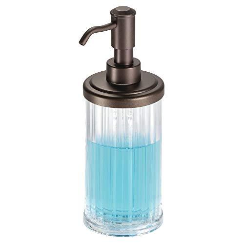 mDesign Fluted Plastic Refillable Liquid Soap Dispenser Pump Bottle for Bathroom Vanity Countertops or Kitchen Sink: Holds Hand Sanitizer & Essential Oils - Clear/Bronze