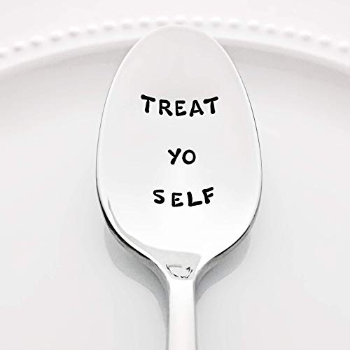 (Parks and Recreation: Treat Yo Self - (Option to Personalize with a Name) -Stainless Steel Stamped Spoon | Stamped Silverware | Gift for Her | Self Care Gift for Friends | Mother's Day Gift for Mom)
