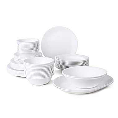 Corelle Livingware 76-Piece Dinnerware Set, Service for 12, Winter Frost White