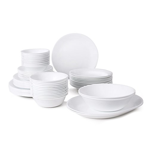 Amazon.com Corelle Livingware 76-Piece Dinnerware Set Service for 12 Winter Frost White Kitchen u0026 Dining  sc 1 st  Amazon.com & Amazon.com: Corelle Livingware 76-Piece Dinnerware Set Service for ...