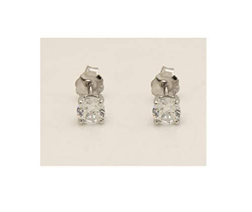 14k White Gold Over VVS1 Diamond-.50 tcw Solitaire Stud Earrings For Women