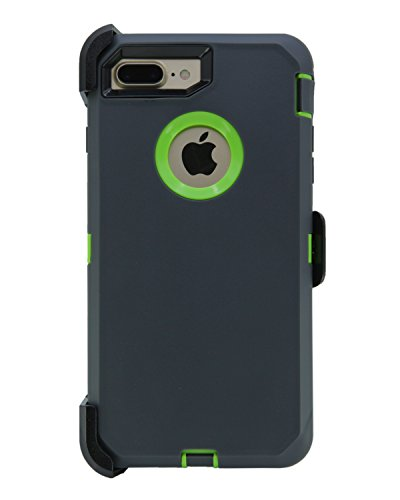 WallSkiN Turtle Series Cases for iPhone 7 Plus/iPhone 8 Plus (Only) Full Body Protection with Kickstand & Holster - The Oxbow (Dark Grey/Green)