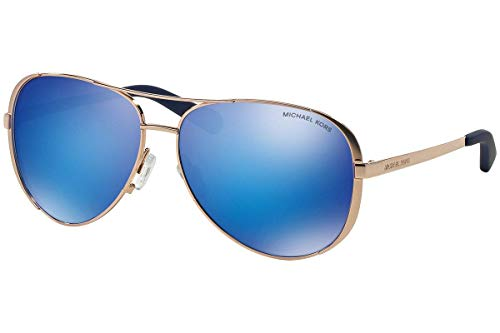 - Michael Kors MK5004 Chelsea Aviator Sunglasses Rose Gold w/Blue Mirror (1003/25) MK 5004 100325 59mm Authentic