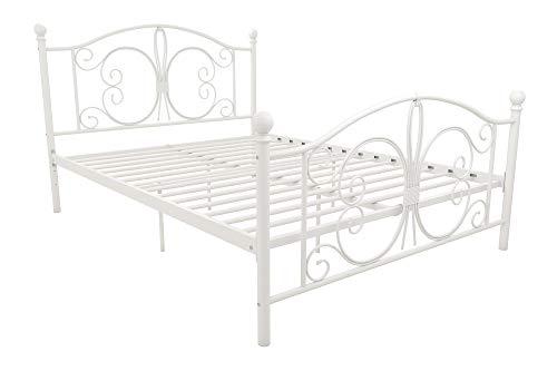 Bedroom Full Size Footboard - DHP Bombay Metal Bed Frame, Vintage Design and Includes Metal Slats, Full Size, White