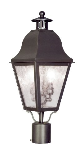 Livex Lighting 2552-07 Outdoor Post with Seeded Glass Shades, Bronze