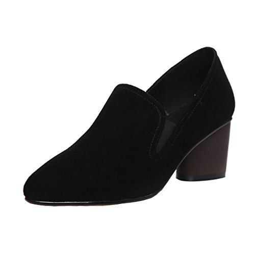 Enmayer Donna Slip-on Tacchi Alti Scarpe A Punta Solide Scarpe Casual Vestito Scarpe Nere