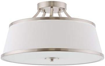 Kira Home Zoey 17.5 Modern 3-Light Semi-Flush Mount Ceiling Light Fixture White Fabric Shade, Brushed Nickel Finish