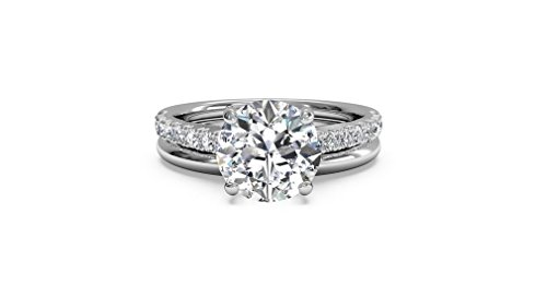 1.48ct D/VVS Round Brilliant Cut Diamond 10k White Gold Wedding Bridal Ring Band Set,All US Size 4 to 12 available