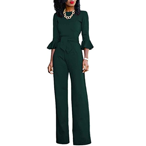 Womens Solid 3/4 Ruffle Sleeve High Waist Wide Leg Jumpsuit Pants Clubwear Green S