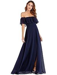 a14c8099b10b Womens Off The Shoulder Ruffle Party Dresses Side Split Beach Maxi Dress  07679