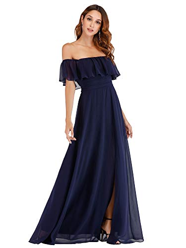 Women's Off Shoulder Summer Casual Beach Dress Side Split Maxi Dress Navy US4
