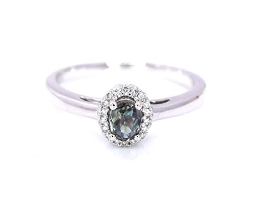 May Design Natural Alexandrite Diamond Cocktail Ring 0.47 cttw Color Change Green Red Brownish Purple Oval Halo 14k White Gold