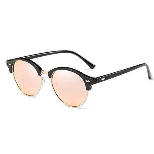 AZORB Polarized Clubmaster Round Sunglasses Unisex Semi-Rimless Horn Rimmed (Black/Pink Mirrored, - Sunglasses Clubmaster Mirrored