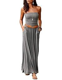 Ancapelion Women's Off Shoulder Summer Beach Floral Long Maxi Dress with Pockets