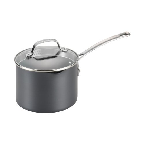 Circulon Genesis Hard-Anodized Nonstick 3-Quart Covered Straining Saucepan