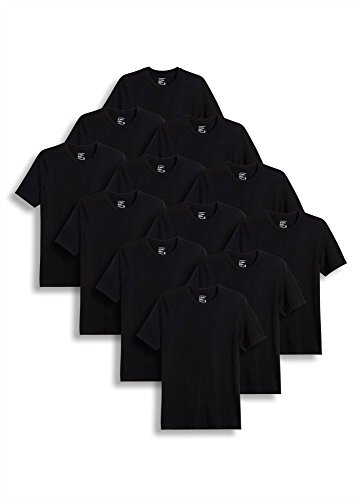 Jockey Men's T-Shirts Classic Crew Neck T-Shirt - 12 Pack, Black, (Jockey Large Crewneck T-shirt)