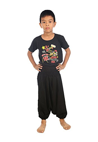 Lofbaz Kids Harem Plain Color Child Aladdin Pants Boho Hippy Black Size - Colors Hippy
